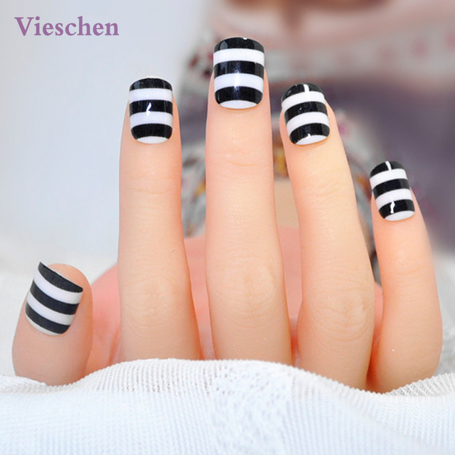 Vieschen Falso Uñas Postizas Nail Art Decoration 24 unids/set Patrón ...