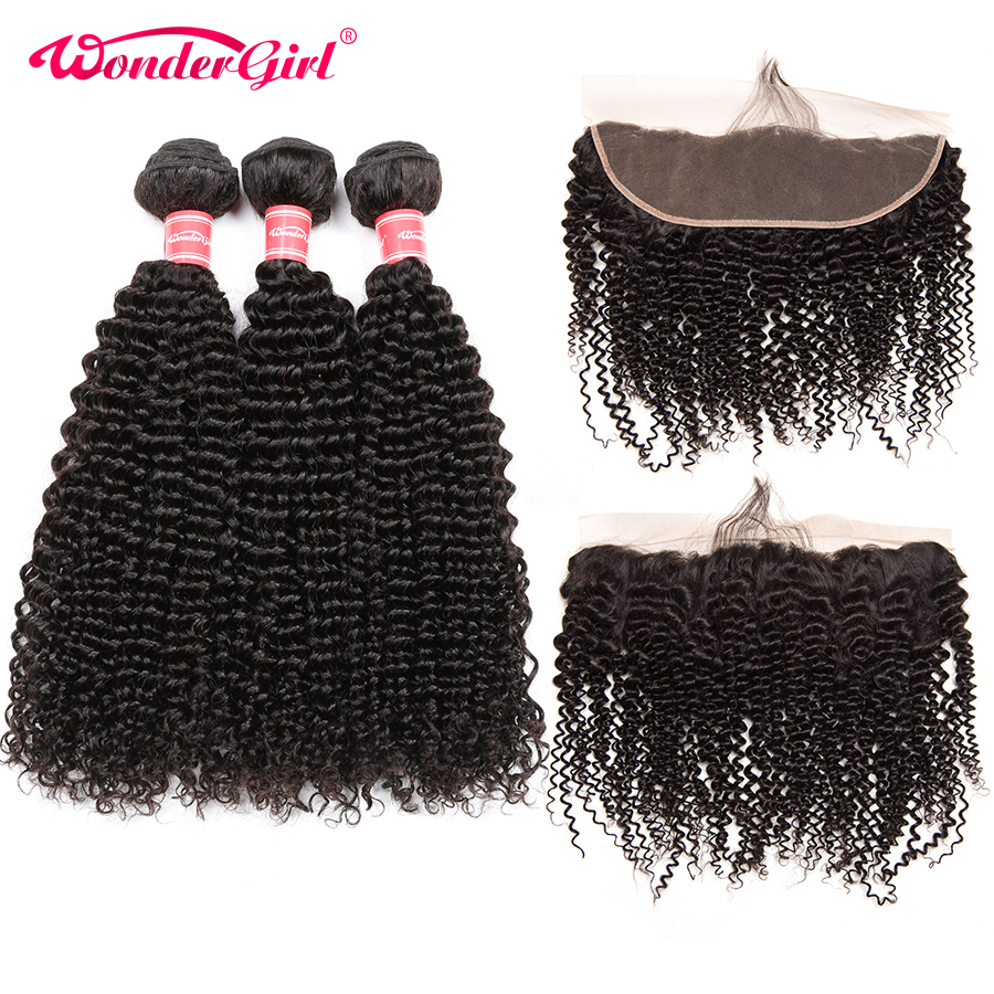 Lace Frontal Closure With Bundles Remy Afro Kinky Curly 3 Bundles With Frontal Peruvian Hair Bundles