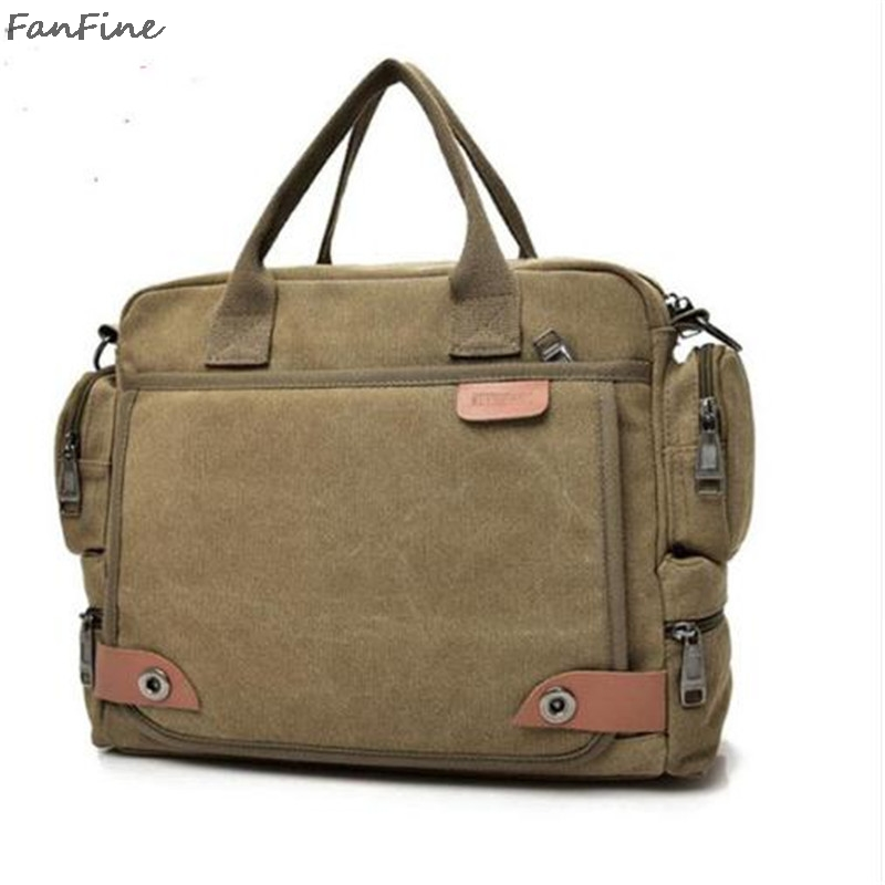 FanFine New Male Briefcases Big Business Men Messenger bag Canvas Mens Handbags Travel Cross-Body Men Shoulder Bags Black ...
