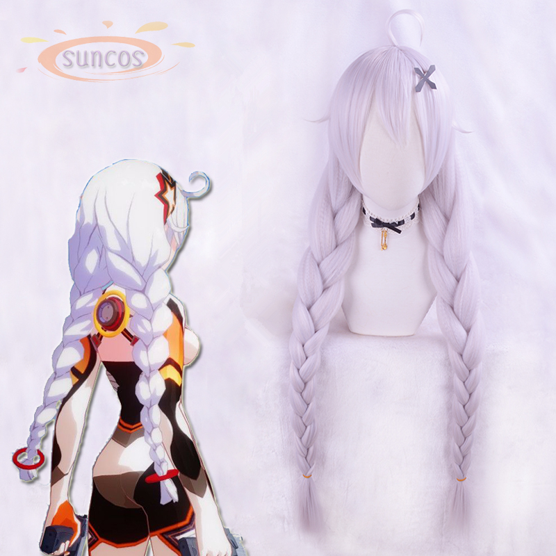 Halloween Anime Honkai Impact 3 Kiana Kaslana Cosplay Wig Braids Ponytails Synthetic Hair Wig