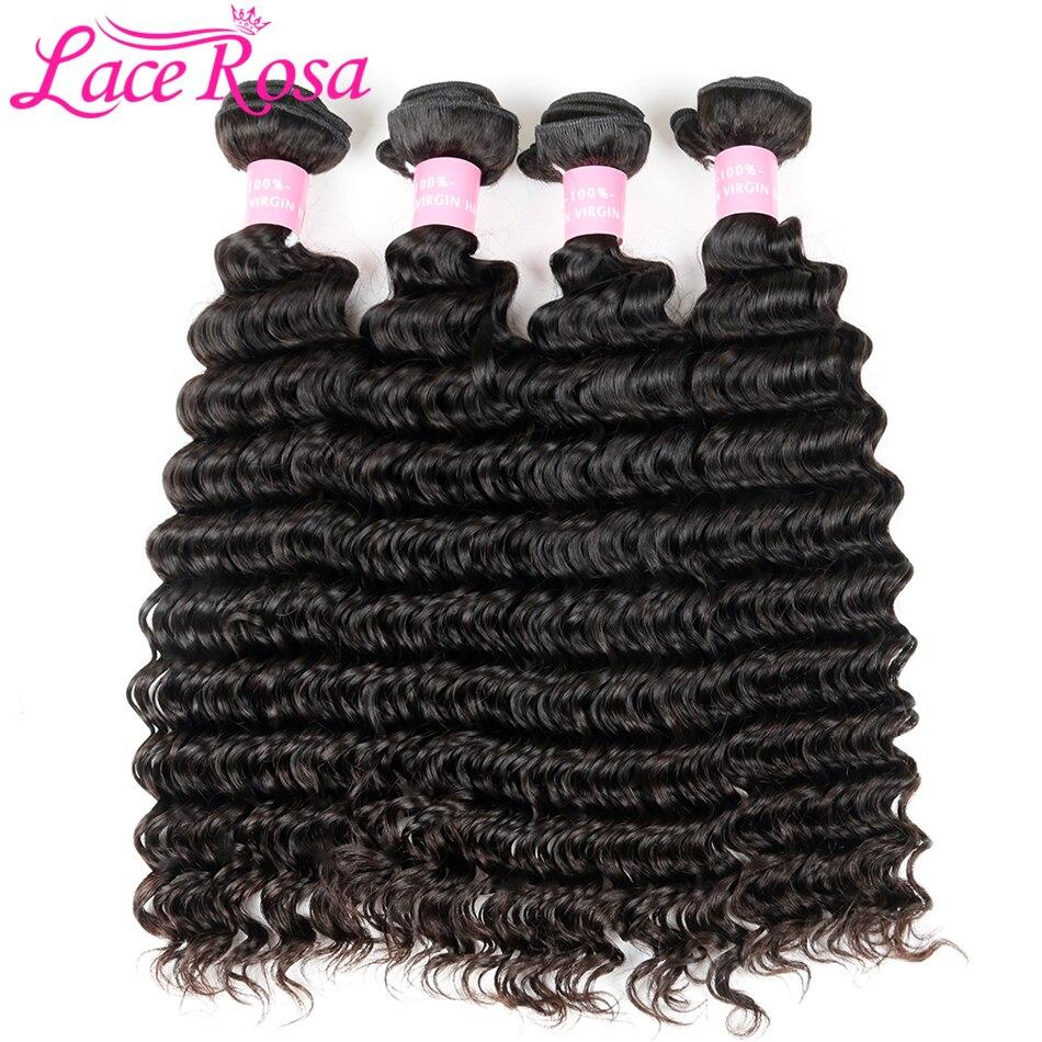 Brazilian Deep Wave Hair 1/3/4 Bundles Human Hair Weave Natural Color Remy Hair Bundles Lace Rosa 10-28 inch