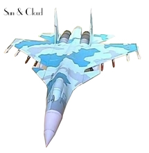 1:50 3D Sukhoi Su-35 Fighter Plane Aircraft Paper Model Assemble Hand Work  Puzzle Game DIY Kids Toy