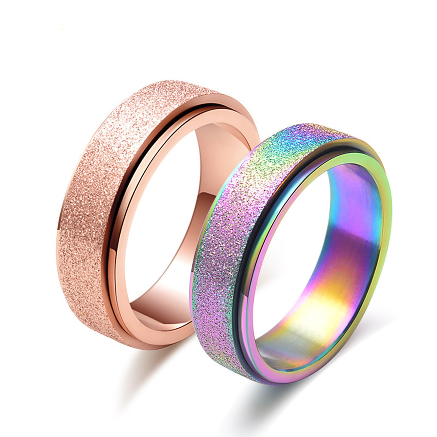 2018 New Fashion Rainbow Ring Titanium Steel Rings For Women Rose Gold Scrub Doubel Rotatable Ring Men Jewelry Wholesale B0170