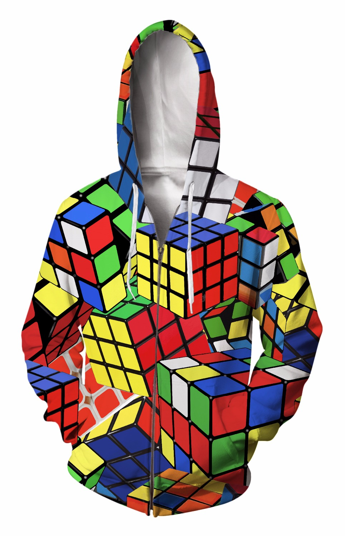 Men's Clothing Geek Rubiks Cube Maze 3d Print Men Hoodie Gift Casual Cotton Coat Sweatshirt Boyfriends Cool Geometric Tops Streetwear