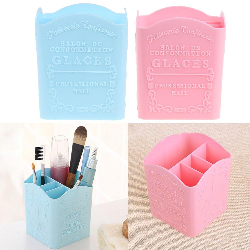 4 compartimentos Nail Art Bolígrafos Pinceles de maquillaje Caja de soporte de almacenamiento Peines Cepillos Bolígrafos Contenedor Mesa de escritorio Organizador Caso