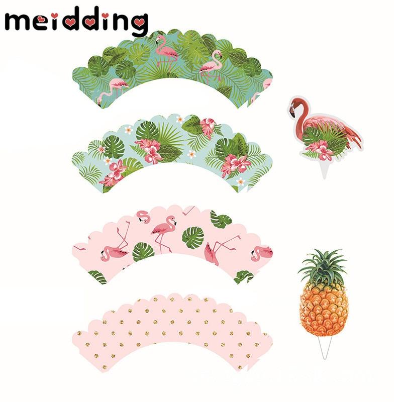 MEIDDING 24pcs Cartoon Flamingo Cupcake Wrappers Baby Shower Birthday Wedding Party Hawaii Beach Summer Pool Decor Supplies