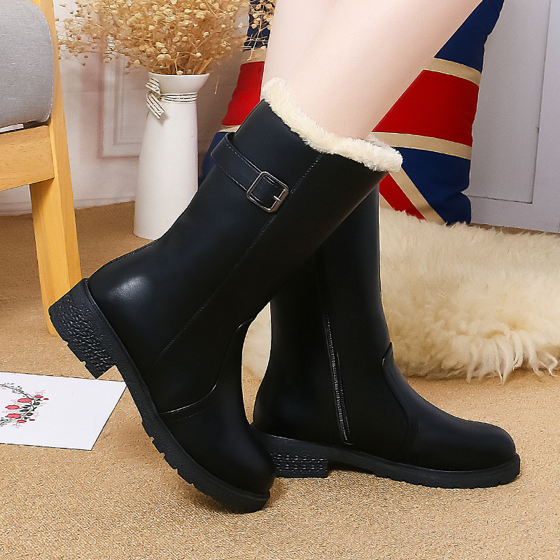 0c3d0913e86 DIJIGIRLS Plus Size 40 Extra Wide Women Winter Boots Warm Wool Lining Snow  Boots Kid Suede Thick Fur Boots