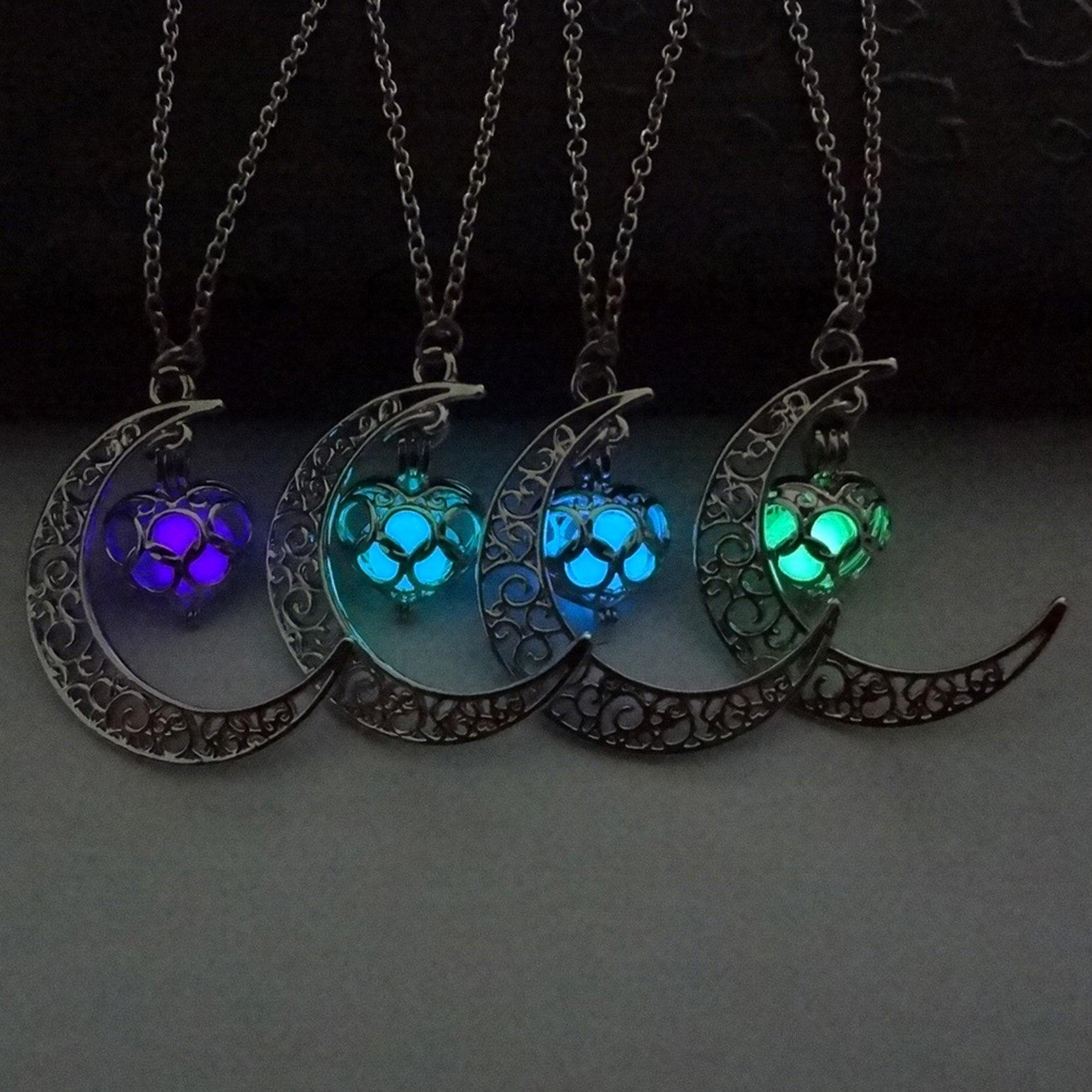 2016 Светящиеся В Темноте Кулон Ожерелья Посеребренные Цепи Ожерелья Полые Луна и Сердце Колье Колье Ожерелье Ювелирные Изделия