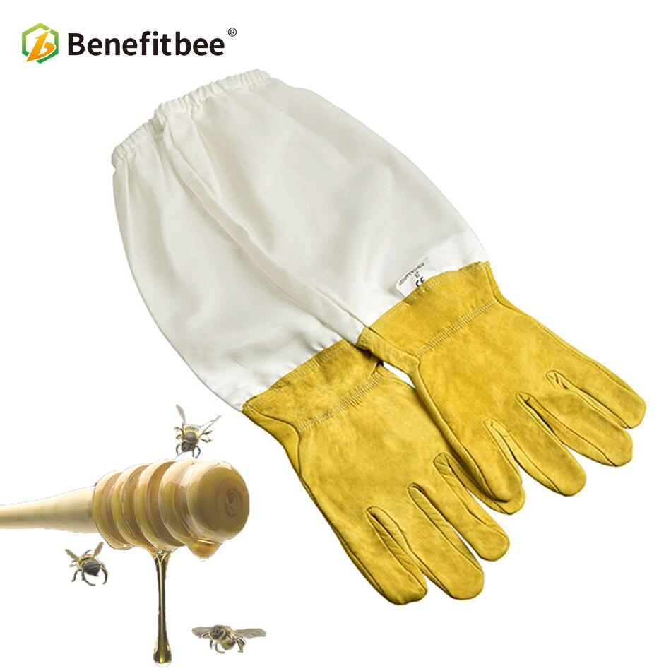 BENEFITBEE Beekeeper Gloves Protective Sleeves Sheepskin Beekeeping for Beehive Tools Apiculture Bee Suit