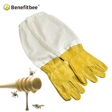 BENEFITBEE Beekeeper Gloves Protective Sleeves Sheepskin Beekeeping for Beehive Tools Apiculture Bee Suit
