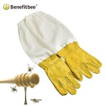 BENEFITBEE Beekeeper Gloves Protective Sleeves Sheepskin Beekeeping Gloves for Beekeeper Beehive Tools Apiculture Bee Suit unisex anti bee clothing cotton beekeeper bee clothing bee caps 1pair sheepskin gloves apiculture costume white grey color