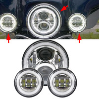 7 Inch MOTO Projector LED Headlight + 2 x 4 1/2 Fog Light Passing Lamps For Harley Heritage Softail Classic Motorcycle