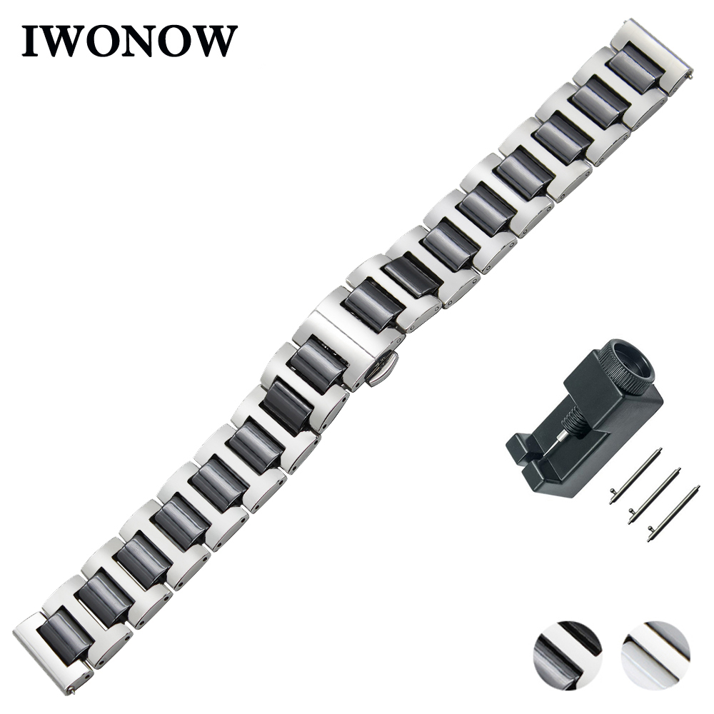 Ceramic + Stainless Steel Watch Band 18mm 20mm 22mm for Rolex Quick Release Strap Butterfly Buckle Wrist Belt Bracelet ceramic stainless steel watchband universal quick release watch band butterfly clasp wrist strap 12mm 14mm 16mm 18mm 20mm 22mm