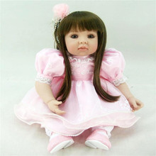 20 inch 50 cm reborn  Silicone  dolls, lifelike doll reborn babies toys Pink Princess Dress Girl