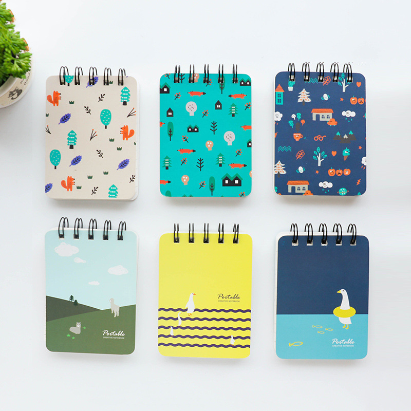 80 Sheets Kawaii Stationery Concise Cartoon Coil Notebook Portable