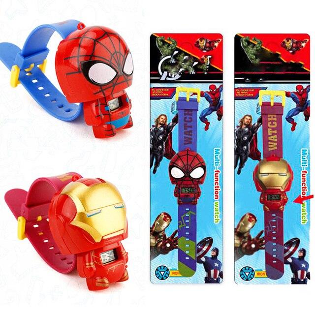 Ferro vingadores Spiderman Crianças Assistir Batman Kitty Eletrônico Relógios Para Estudante de Criança Meninos Menina Dos Desenhos Animados Crianças Relógio de Pulso