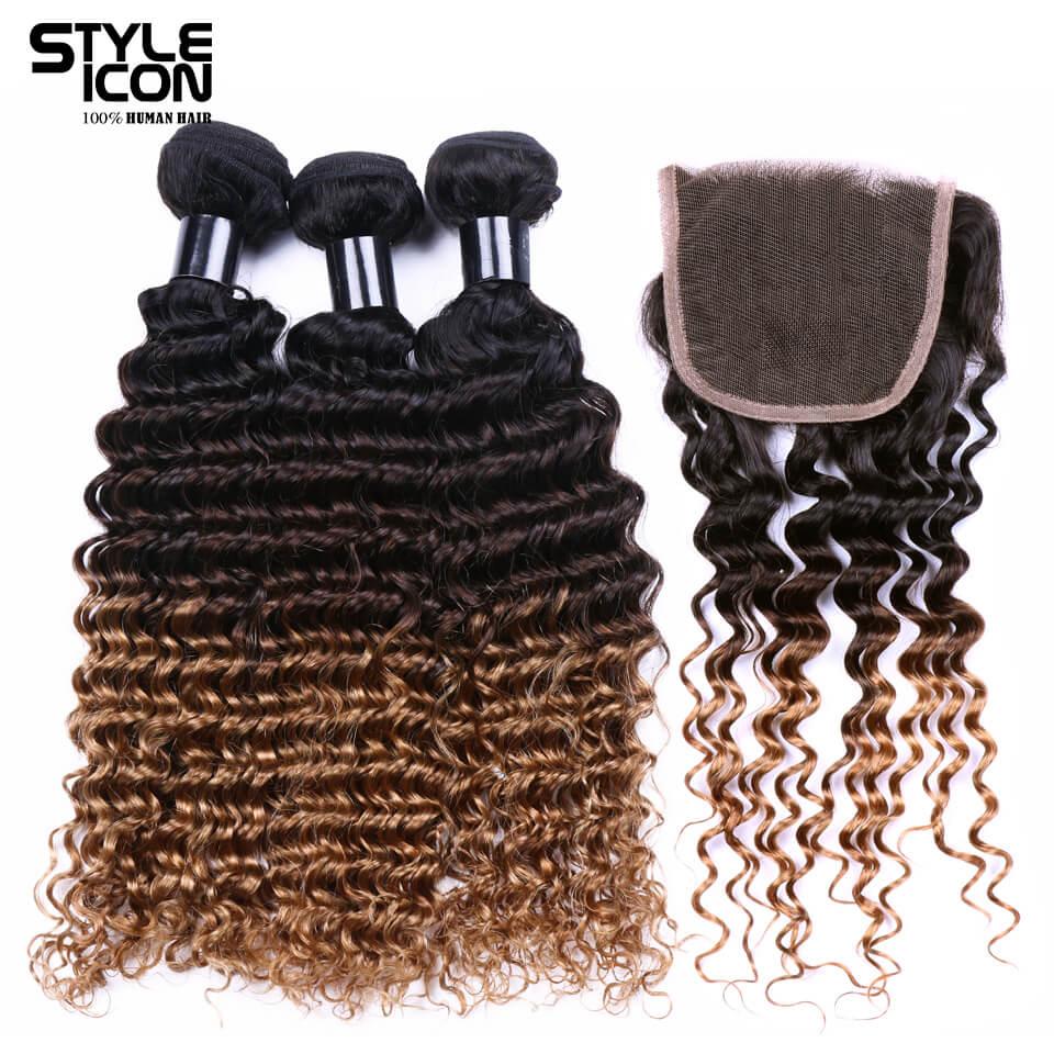 Styleicon предварительно цветные Реми бразильские пучки волос с закрытием глубокая волна Ombre коричневый блондинка переплетения человеческих в...