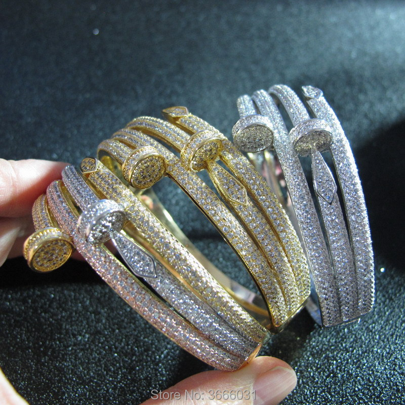 New cubic zirconia bangle WHITE GOLD COLOR bracelets WOMEN party jewelry
