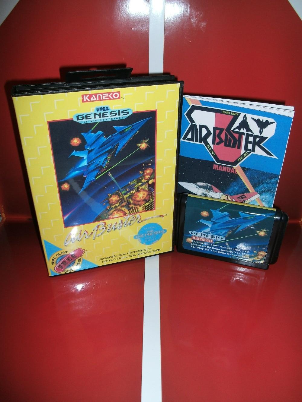 Cartouche de jeu Air Buster avec boîte et carte MD manuelle 16 bits pour Sega MegaDrive pour Genesis