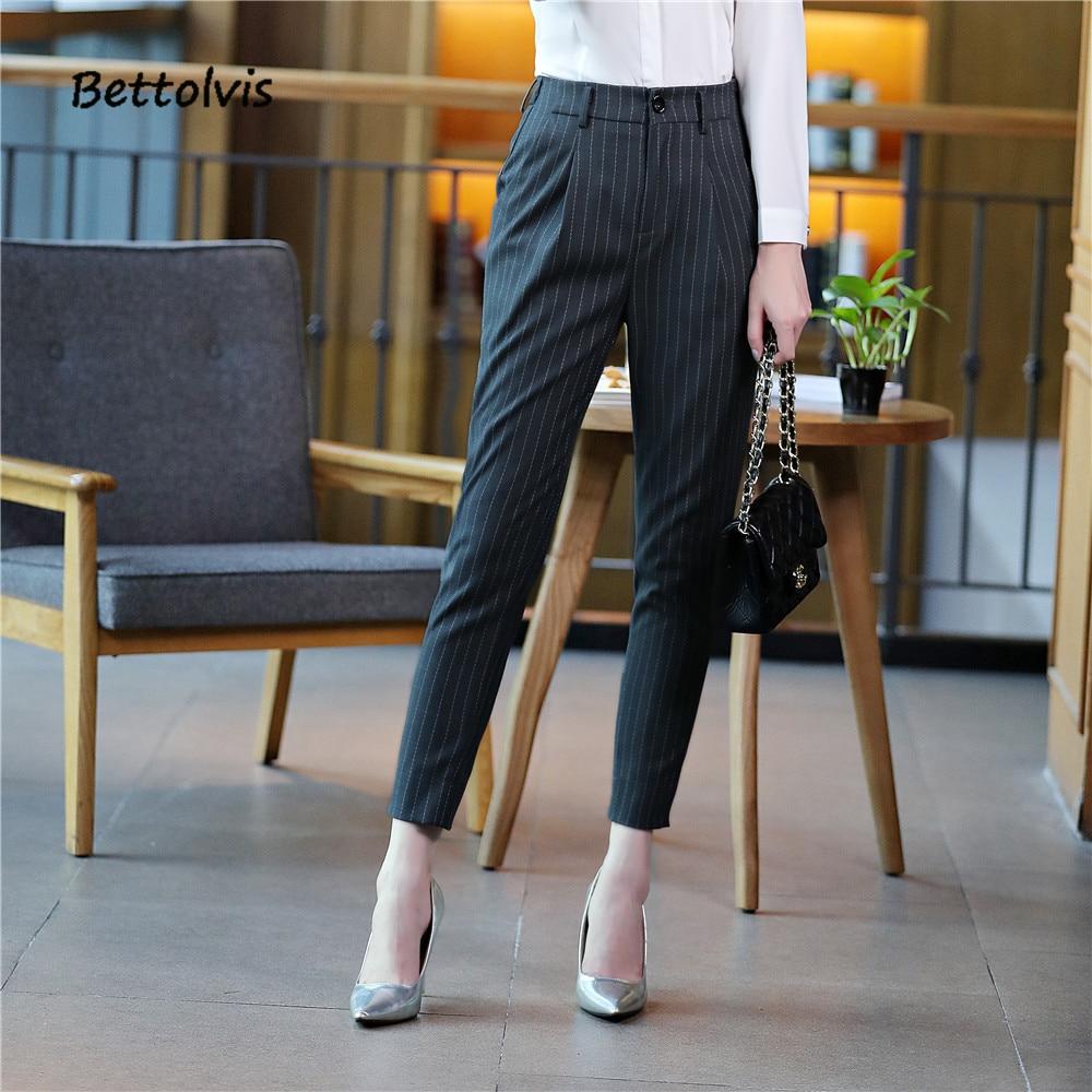 2018 New ankle length pants business Formal pants women trousers girls slim female work wear Office Lady striped pants