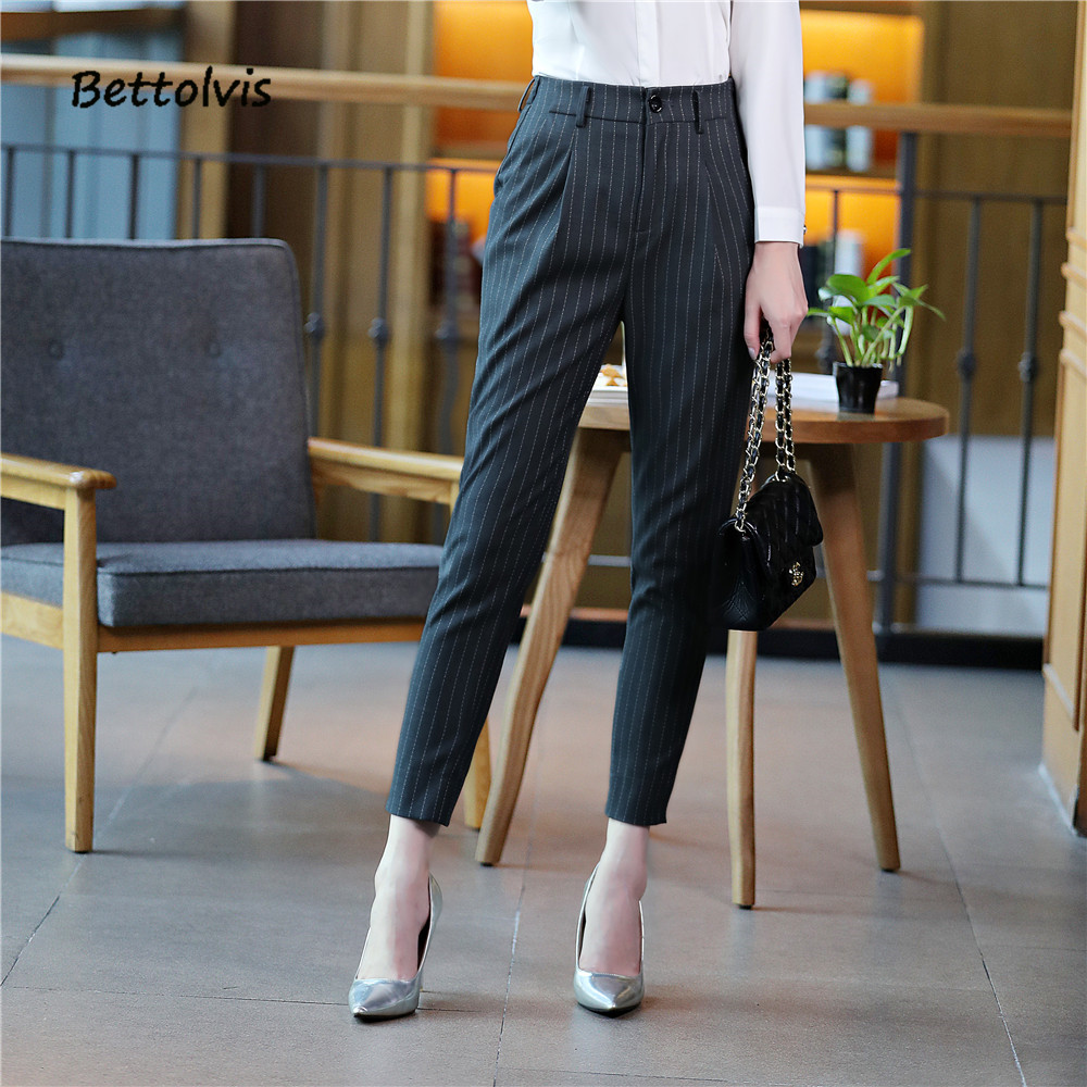 38f5c6cb2b8a6 2019 New ankle-length pants business Formal pants women trousers girls slim  female work wear Office Lady striped pants