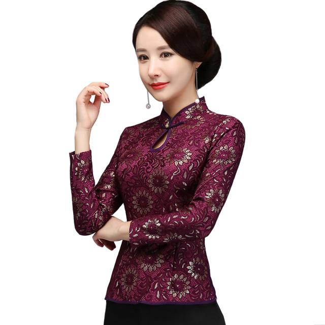 7c8108c431116 Lace Floral Chinese Traditional Style Female Shirt Casual Mandarin Collar  Blouse Purple Button Plus Size Tang Clothing S-XXXXL