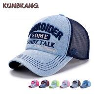 Wholesale Men Women Denim Washed Cap Snapback Letter Mesh Baseball Cap Jeans Hat Bone Summer Fashion