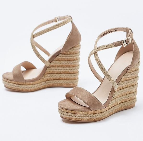 Woman Rope Braided Wedge Sandals Cut-out Peep Toe Cut-out Summer Sandals Super High Platform Dress Shoes Real Photo Free Ship ледянка 1toy cut the rope cut the rope
