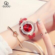 купить Top Luxury Brand Fashion Quartz Watch Women Shining Rhinestone Watches Ladies Leather Waterproof Wristwatch bayan saatleri по цене 2131.08 рублей