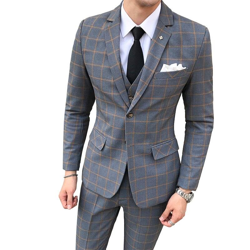 Hommes Blazer + gilet + pantalon/2019 nouveau marié Boutique de mode Plaid robe de mariée costume ensembles hommes haut de décontracté affaires costumes-in Costumes from Vêtements homme    1