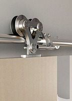DIYHD Top Mounted Double Head Stainless Steel Sliding Barn Door Hardware 5ft 6ft 6 6ft 8ft