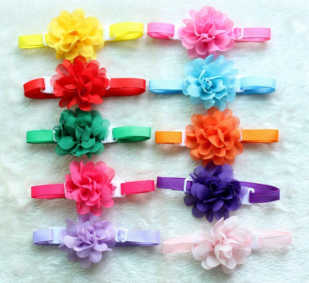50pcs Dog font b pet b font Bow Tie Chiffon flowers Dog necktie Adjustable font b