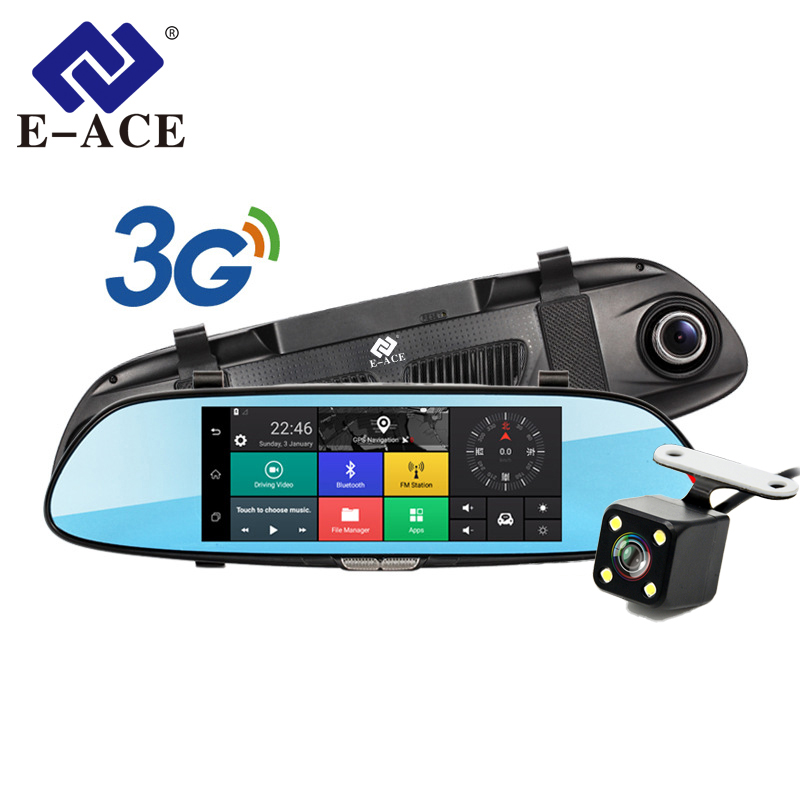 E-ACE 7 Touch 3G Car Camera DVR GPS Bluetooth Dual Lens Rearview Mirror Android 5.0 Video Recorder Full HD 1080P Auto Dash Cam hyt h760 7 3g rearview mirror dvr and camera dual lens android 5 0 1080p video recorder gps navigation car detector dash cam