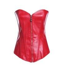 Ensen Sex Women Zipper Steampunk Corselet Waist hot shapers red black Leather Corset Body Shapewear Bustiers Overbust vestido