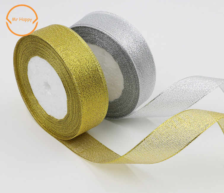 high quality 5/8'' 3/4''(20mm) 1''(25mm) 1-1/2''(40mm organza Silver gold Glitter ribbon for wedding craft bow decoration