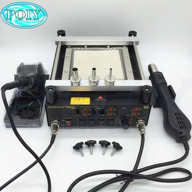 Gordak 863 3in1 Digita Hot Air Heat Gun BGA Rework Solder Station Electric Soldering iron IR Infrared Preheating Station 2