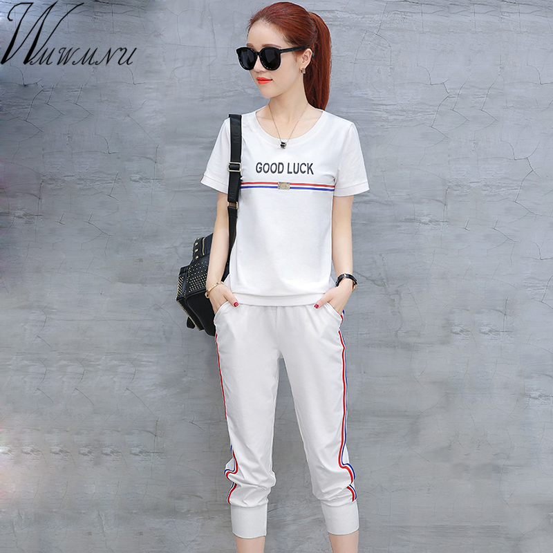 2018 summer Tracksuit short Sleeve Sweatshirts Casual Suit Women Clothing 2  Piece Set Tops+Pants a9dd965256bc