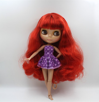 Blygirl Nude dolls red bangs curls more joints body 19 joints Tan skin DIY dolls can replace the body