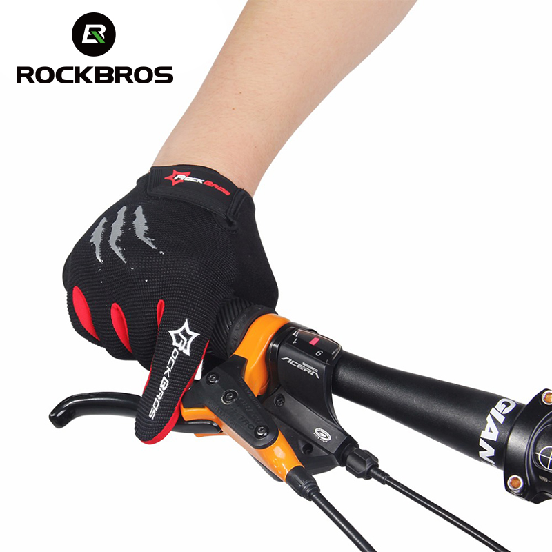 ROCKBROS Bike Bicycle Gloves Full Finger Bike Bicycle MTB Gloves Touch Screen