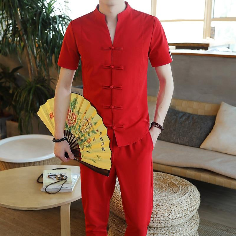 Loldeal Chinese Linen Cardigan Button Style Solid Color Cotton Suit Men 39 s TShirt Pants 2 Sets in Men 39 s Sets from Men 39 s Clothing