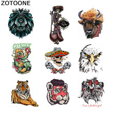 ZOTOONE Punk Skull Tiger Patch Animal Diy Heat Transfers for Clothes T-shirt Iron-on Appliques Thermo Stickers E