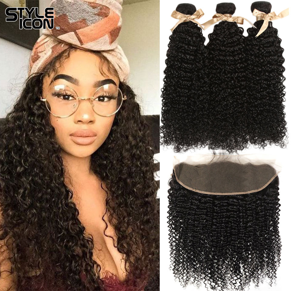Styleicon Malaysian Curly Human Hair Weave Bundles With 13*4 Lace Frontal Closure Free Part Remy Closure With Hair Bundles