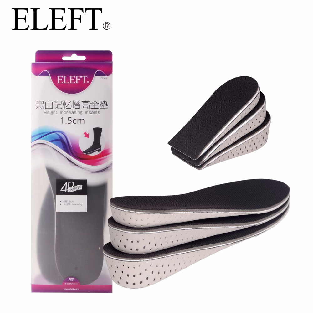 ELEFT 4D Black white memory foam Height increase Elevator insoles pads Soles for shoes Men Women Shoe foot pad inserts Massage sticker shoes stick on soles sticky pads for feet beach sock waterproof hypoallergenic adhesive pad for walking freely insoles