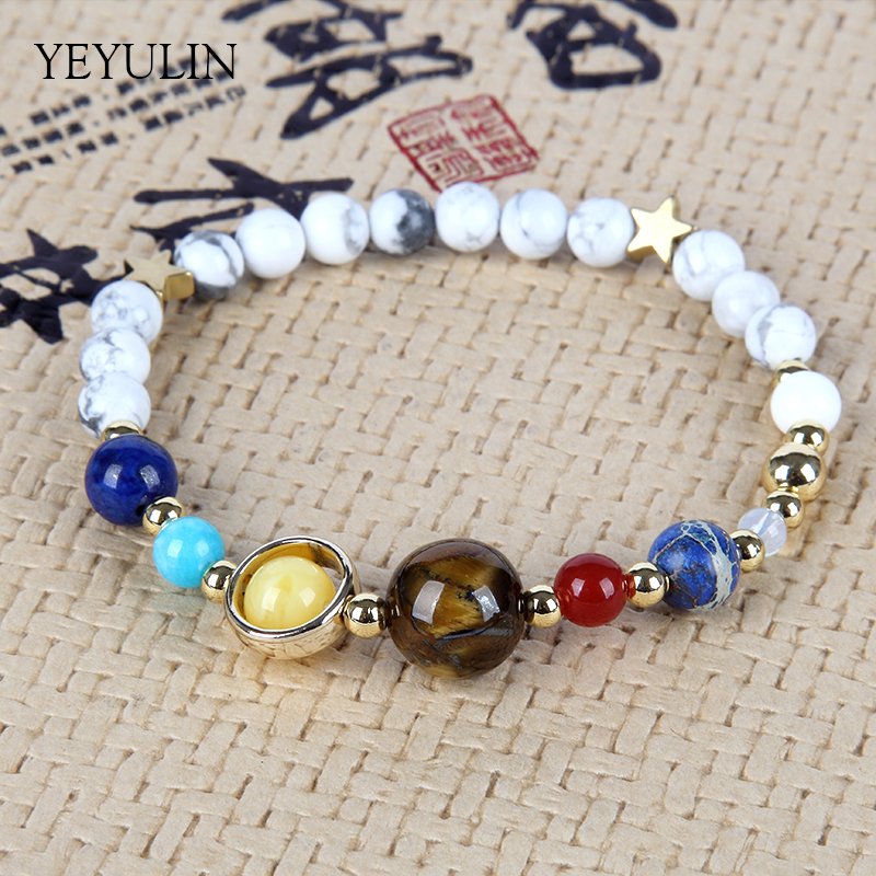 Natural White Stone Beaded Bracelet Universe Galaxy Eight Planets In The Solar System Guardian Star Reiki Jewelry For Unisex