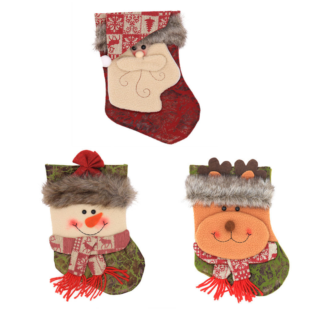 New Christmas Cute Socks Santa Gift Bag 3D Applique Style Embroidered Design Hanging Loops Children Socks For Christmas