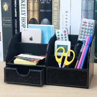 PU leather desk organize desktop organizer for the office office supplies wood card holder Cosmetics storage box SNH004D