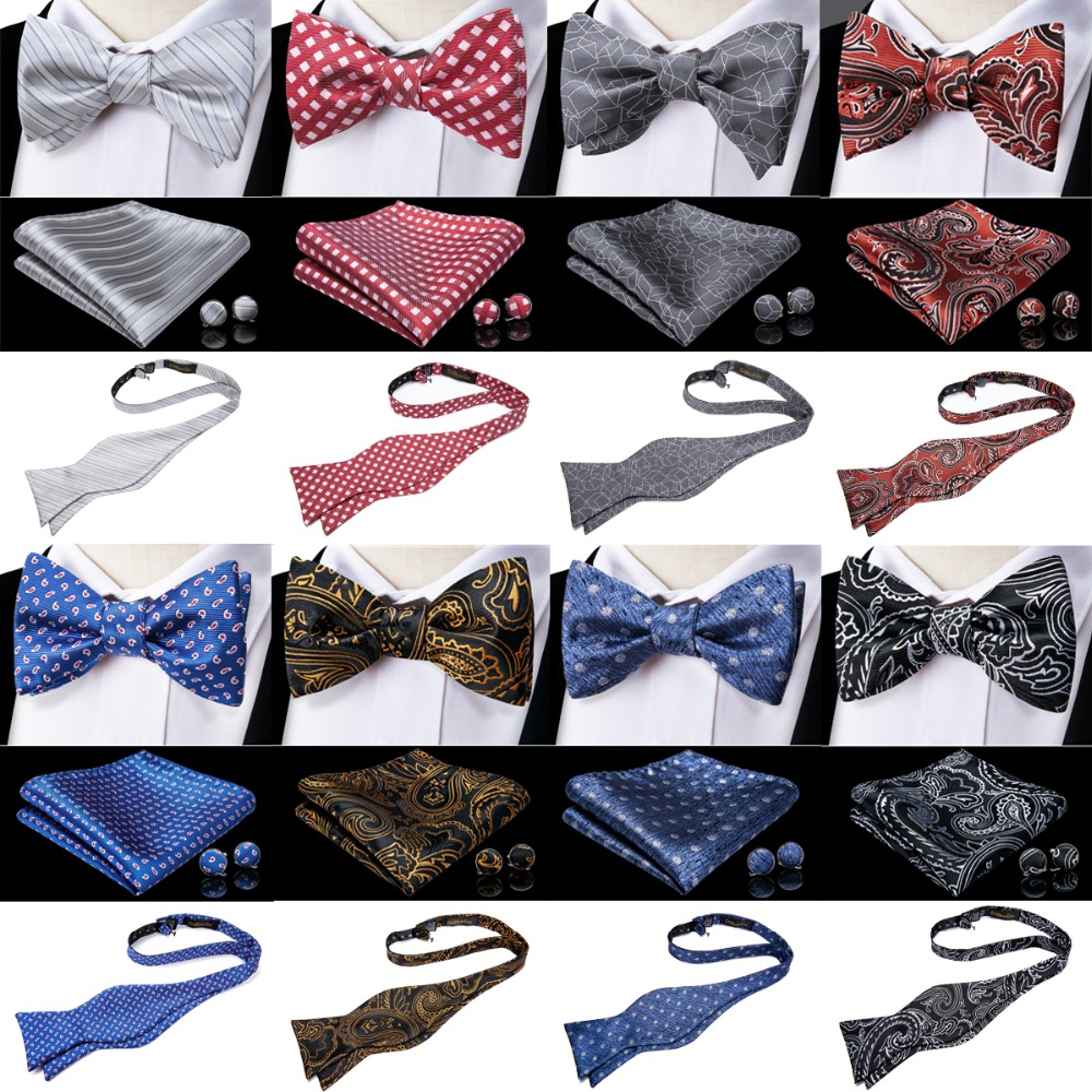 DiBanGu New 100% Silk Mens Self Tied Bow Tie Adjustable Bowtie Self-tied Ties Gray Red Blue Gold Black Butterfly Wedding Party