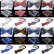 DiBanGu New 100% Silk Mens Self Tied Bow Tie Adjustable Bowtie Self-tied ties Gray Red Blue Gold Black Butterfly Wedding Party contrast bow tied half zip bodysuit