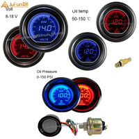 52mm EVO Car Oil Temperature Gauge Celsius Voltmeter Fuel pressure Meter Digital Blue Red Led 2 inch 12V Auto Manometer + Sensor