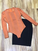 Brilhando beleza elegante sexy 2 peça roupas para as mulheres new arrival 2017 orange malha duas peças bodycon bandage dress atacado